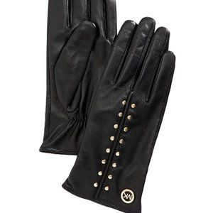MICHAEL KORS Leather Astor Studded Gloves